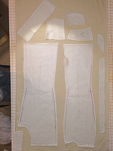 Jean pattern laid on stretch denim