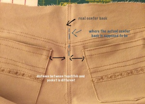 two back sewed at seam line then pressed to the right side and topstiched.